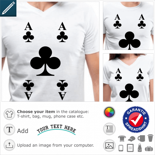 Ace of clubs t-shirt. Ace of clubs 4 corners special t-shirt printing.
