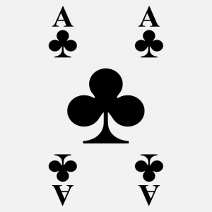 T-shirt game cards. Ace of clubs card to personalize.