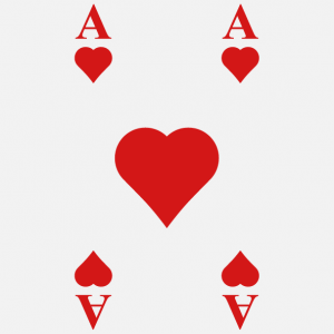 T-shirt cards. Print an ace of hearts t-shirt with this game card design.