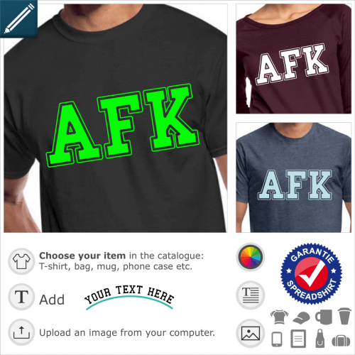 AFK gaming t-shirt. AFK is written in college typography, a gaming design in large capital letters.