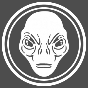 Alien, illustration with the face of an alien engraved in the middle of a circle.