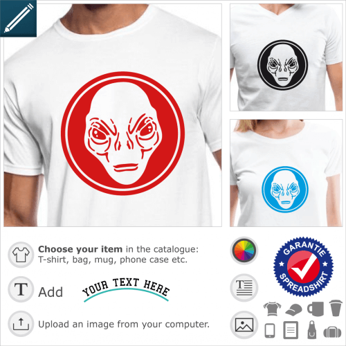 Alien face circle t-shirt. Alien with big eyes without eyelids, portrait of face cut in a solid circle with thick contour. The design looks like a log