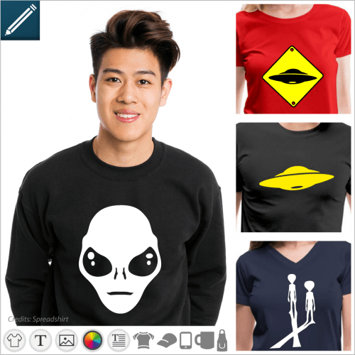 Custom alien t-shirt. Portraits of aliens in an online editable format to be printed online. Create an original alien t-shirt.