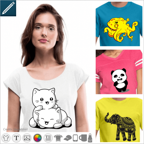 T-shirt animals and designs nature to customize online.