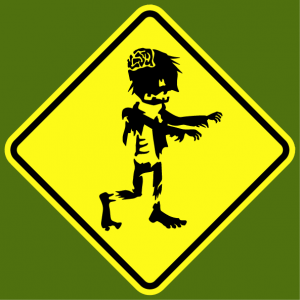 T-shirt road sign. Zombie road sign, zombie warning parody road sign.