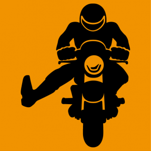 Customize a biker t-shirt. Biker on the road waving his foot in gratitude, a design in one customizable color.