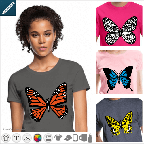 Custom butterfly t-shirt, decorative and colorful designs to create an original butterfly t-shirt.
