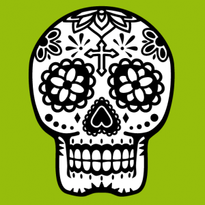 Mexican skull with flowers and crosses. Flowered Calavera.