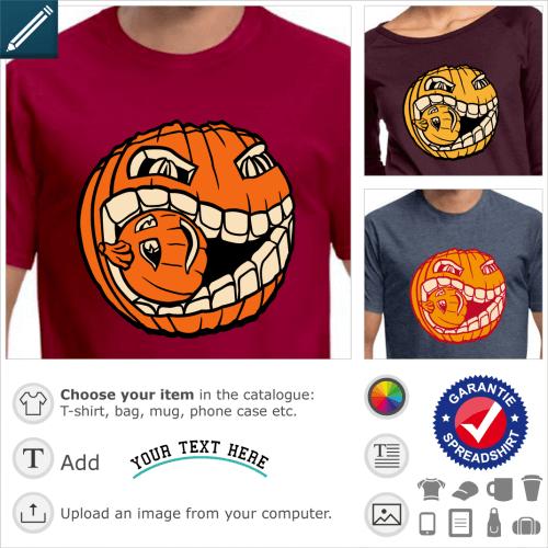 Cannibal pumpkin t-shirt to personalize and print for Halloween. Original monster pumpkin.