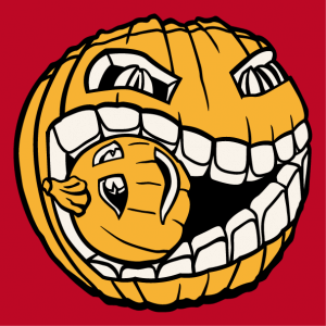 Halloween design to print on t-shirt. Pumpkin eating a small pumpkin. Create a Halloween t-shirt