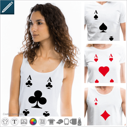 T-shirt card and card games to personalize and print online. Create your Ace of Spades t-shirt in the designer.