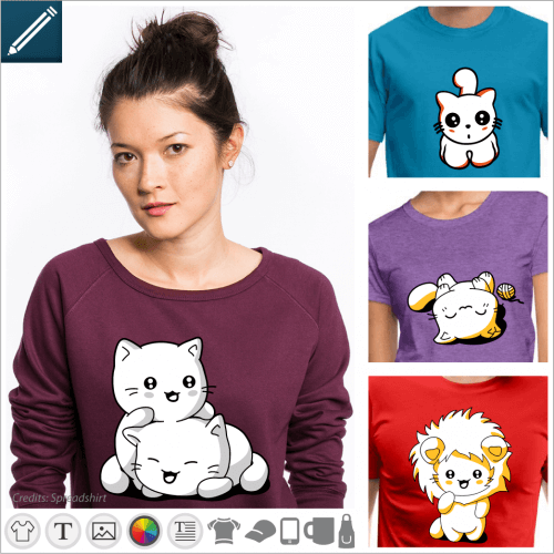 Custom cat t-shirt. Cat, kitten, cat eyes in kawaii style etc. Choose your design and print it online.