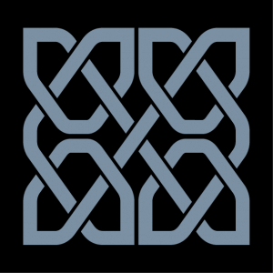 Celtic design of square shape composed of four symmetrical portions formed by a continuous line that intersects in crosses.