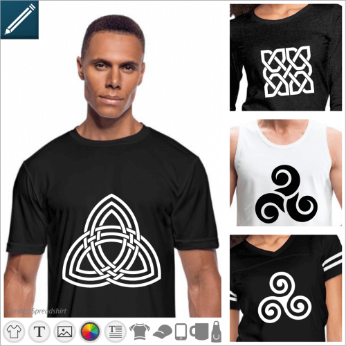 Create a custom triskel t-shirt with these Celtic symbols with 3 spirals for online printing.