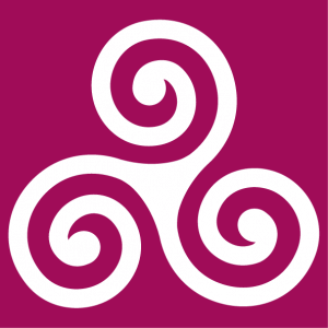 Celtic triskelion in classic form. The three branches of the Celtic symbol are finished with large wheelbases.
