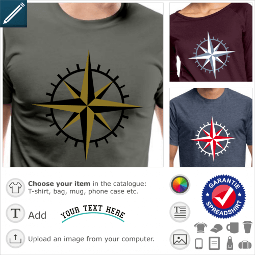 Compass t-shirt. Graduated compass design with 8 points, 4 main and 4 smaller, and a thick graduated circle in the background.