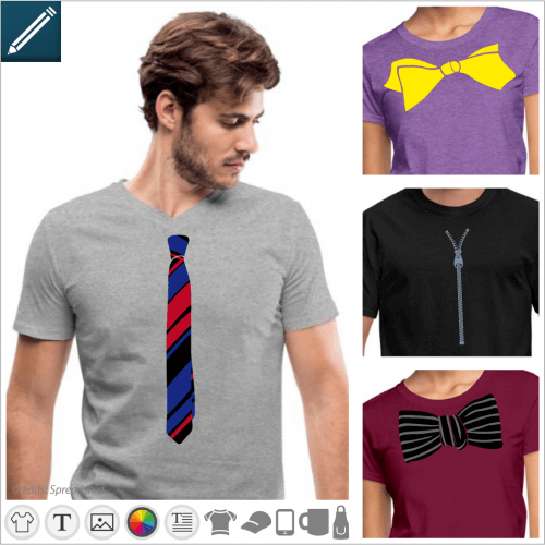 Turn your t-shirt into a costume with these ties and bowties, crown, zip.