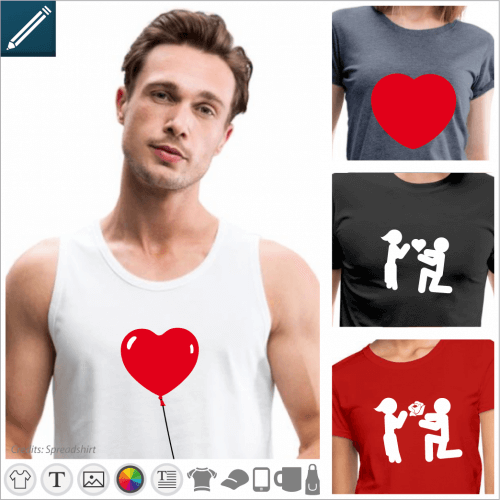 T-shirt love and couple, relationship and hearts to personalize and print online.