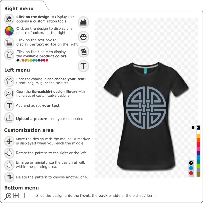 Celtic design in the shape of a circle with intertwined strands. Print your Celtic t-shirt online.