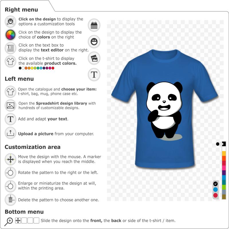 Kawaii 3 color Panda to customize and print online. Customize your panda t-shirt.