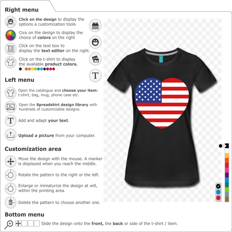 Customize a Heart USA flag t-shirt