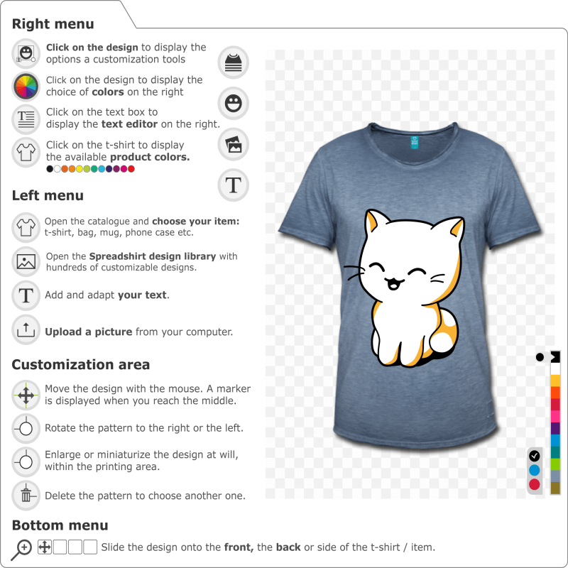 Funny cat drawn in kawaii style to print online. Customizable colors. High quality printing. Create a customised kawaii cat t-shirt