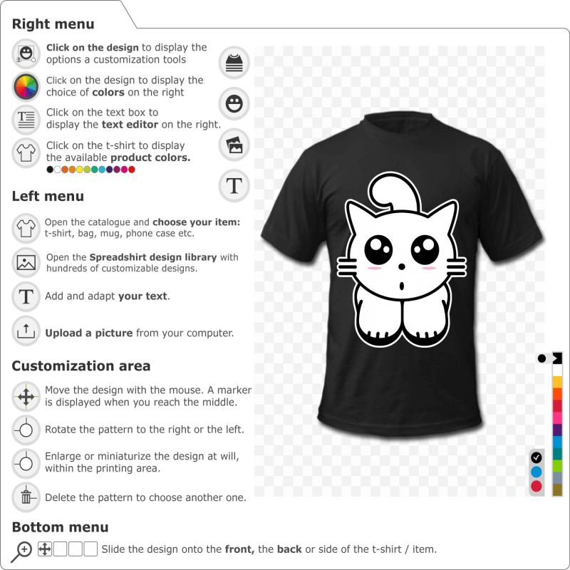 Create a kawaii kitten t-shirt