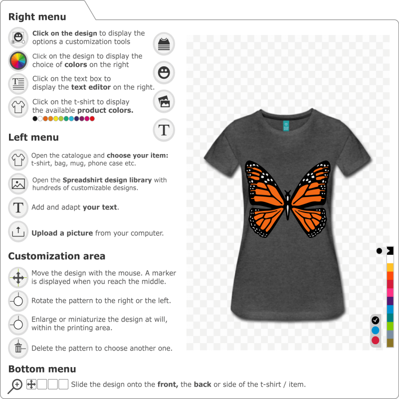 Butterfly to personalize online. The butterfly is designed in a special customizable format for t-shirt printing to be modified in the designer.