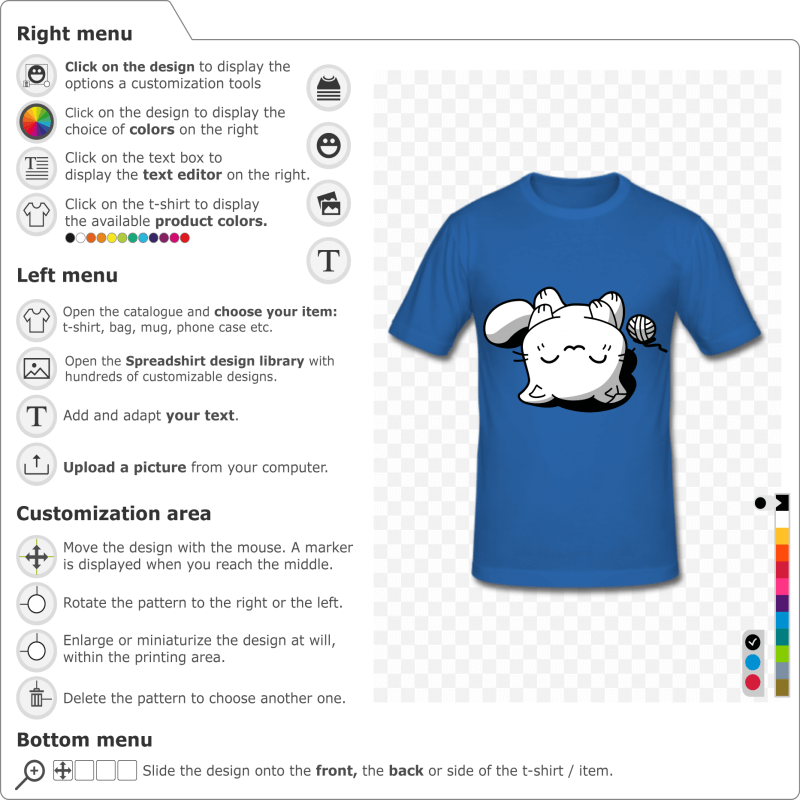 Custom cat t-shirt. Kawaii kitten asleep on the back, 3 colors drawing to customize.
