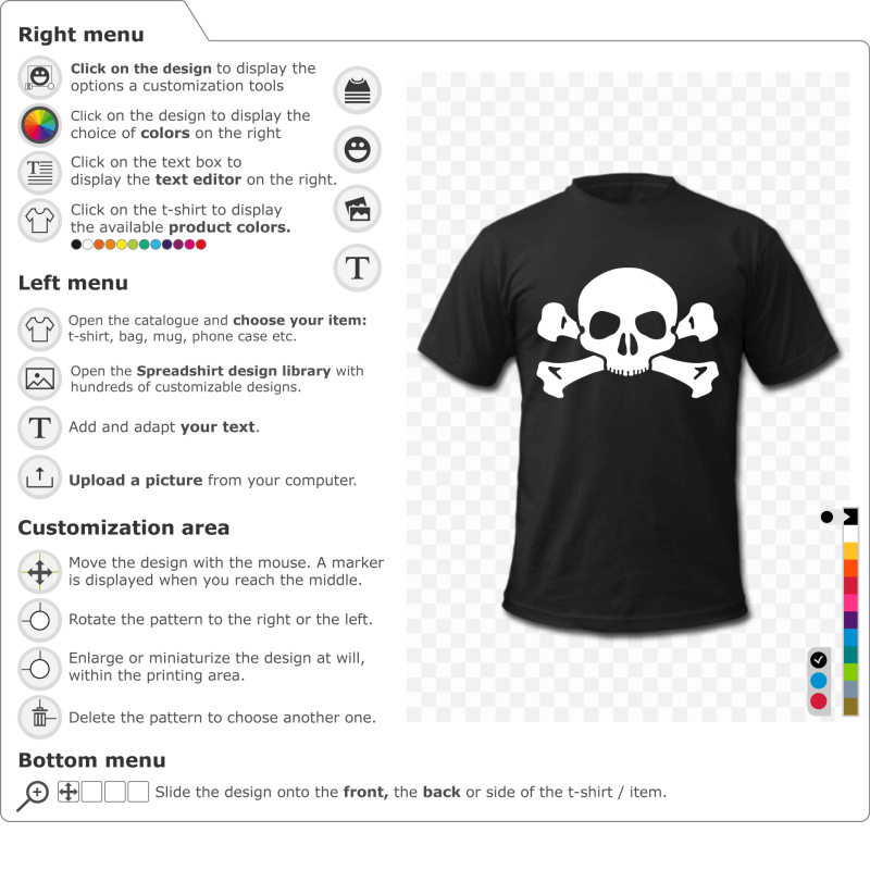 Create your own personalized simple skull and crossbones t-shirt