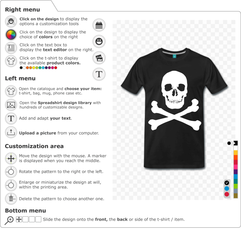 Customize a skull and crossbones t-shirt