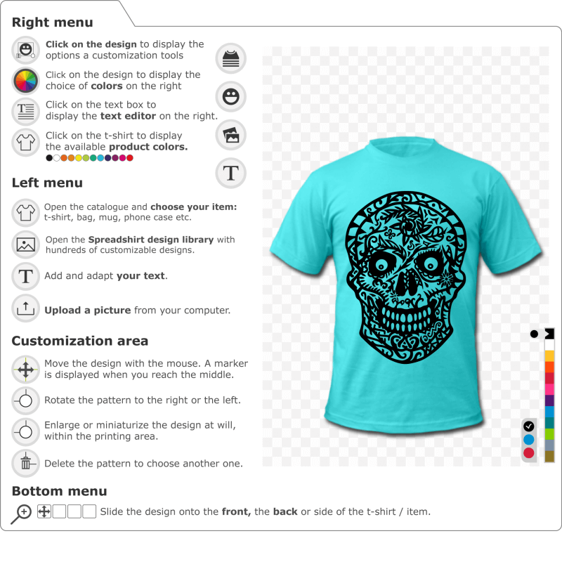 Customize a flowered skull t-shirt to print