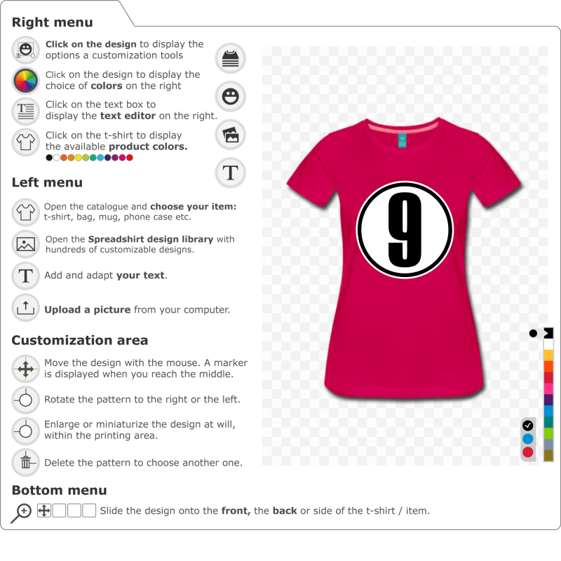 Customize your Number 9 T-shirt to print