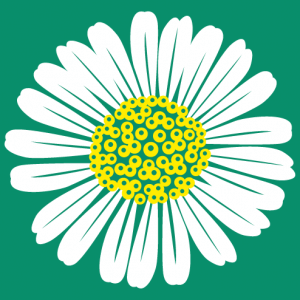 Daisy, round floral design in two colours to customize.