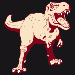Original dinosaur t-shirt to personalize online. Tyrannosaurus rex stylized in 3 colors, opaque