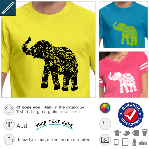 Elephant t-shirt. Elephant with a round silhouette, drawn in profile with the trunk raised. The elephant is decorated with classic Indian motifs, flow