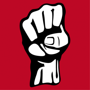 Fist T-shirt. Pictogram with raised fist, a revolution symbol.