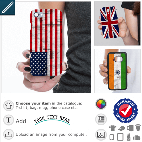 Mobile phone cases to customize, with country flag to print online. The flags are in the same format as the standard full printed cases.