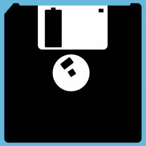 Stylized 3-inch 1 / 4 floppy disk to print online, a computer design and retrogaming.