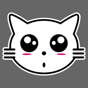 Kitten anime, little kawaii cat head.