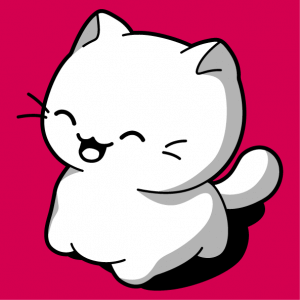 Funny cat with a funny expression to print online. Kawaii cat design.