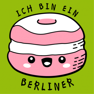 T-shirt quotes, Ich bin ein Berliner, funny quote from JFK with a berliner kawaii donut to customize