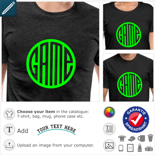 T-shirt Game, round design with monogram letters, a design video games and gaming.
