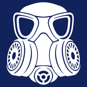 One-colour gas mask, graphic and stylish design for gift printing or t-shirt.