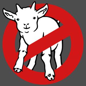Goatbusters goat goatskin, parodic ghostbuster logo, customizable geek joke.