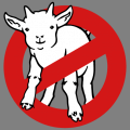 Parody of the Ghostbuster logo with a baby goat instead of the ghost of the original logo. Print a t-shirt.