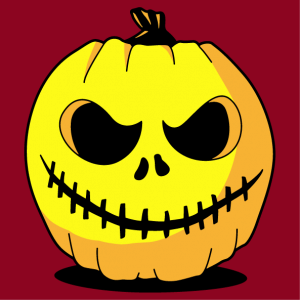 Create your Halloween t-shirt or pumpkin bag for October 31st. Funny pumpkin.