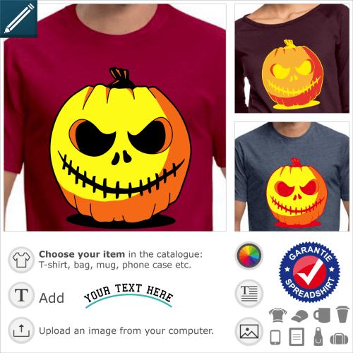 Original Halloween pumpkin T-shirt. Create a custom t-shirt with this carved pumpkin.