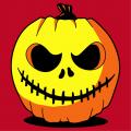 Halloween T-shirt, funny pumpkin topped with a hat / stem. Original 3-colour pumpkin motif.