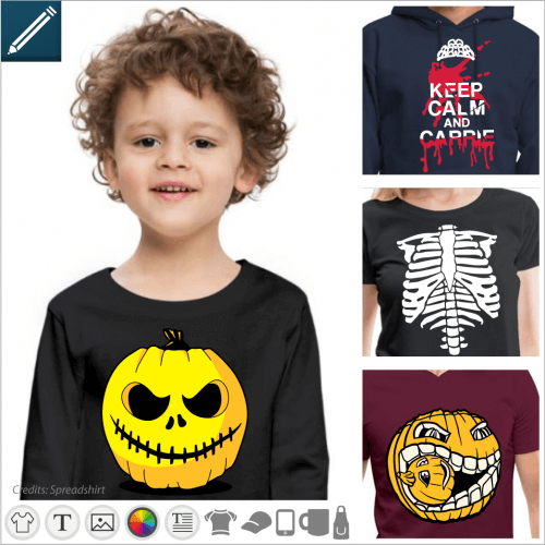 T-shirt and designs for Halloween, pumpkins, monsters, zombies.